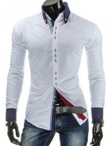 New Stylish Slimming Shirt Collar Sutures Design Color Block Splicing Long Sleeve Button-Down Shirt For Men