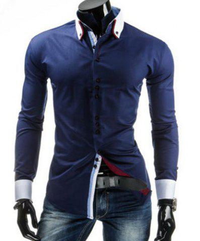 Minceur shirt élégant Collier sutures design Color Block épissage manches longues Button-Down For Men