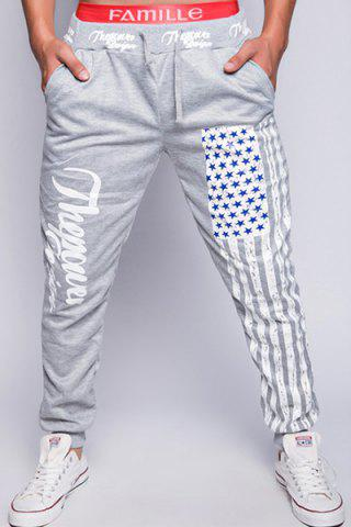 Shops Loose Fit Stylish Lace-Up American Flag Print Beam Feet Men's Polyester Jogger Pants LIGHT GRAY XL