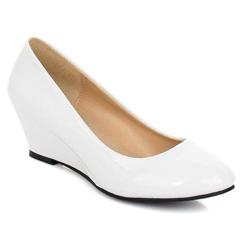 Cheap Simple Style Patent Leather and Solid Color Design Women's Wedge Shoes WHITE 39