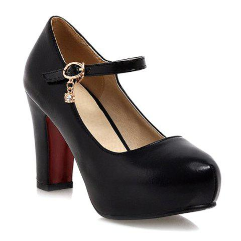 Outfits Ladylike Solid Color and PU Leather Design Women's Pumps BLACK 41