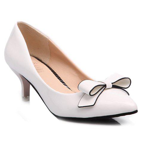 Outfit Stunning Patent Leather and Bowknot Design Pointed Toe Women's Pumps