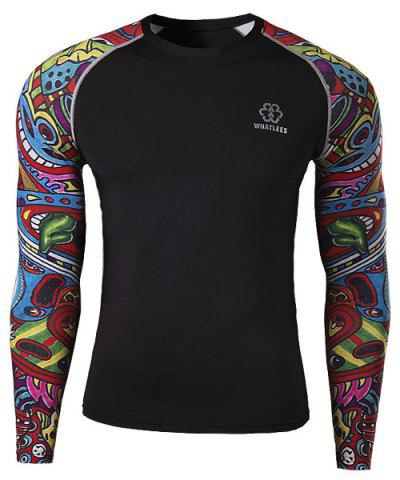 Buy Stylish Round Neck 3D Colorful Cartoon Print Splicing Skinny Long Sleeve Quick-Dry T-Shirt For Men