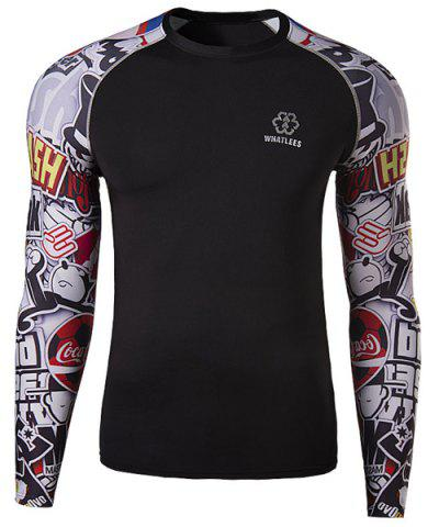 Buy Modish Round Neck 3D Letter Print Splicing Skinny Long Sleeve Polyester Quick-Dry T-Shirt For Men