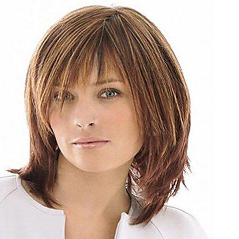 Hot Fluffy Medium Inclined Bang Trendy Natural Straight Mixed Color Capless Synthetic Wig For Women