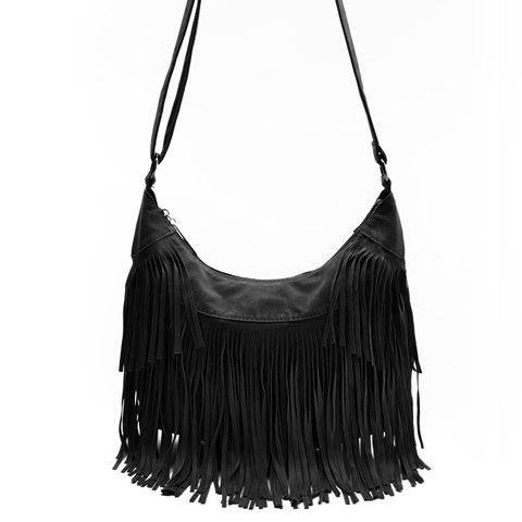 Outfits Stylish Suede and Fringe Design Women's Crossbody Bag - BLACK  Mobile