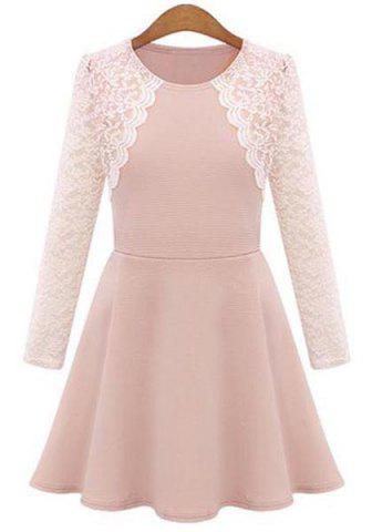 Sale Stylish Round Collar Lace Splicing Plus Size Long Sleeve Dress For Women
