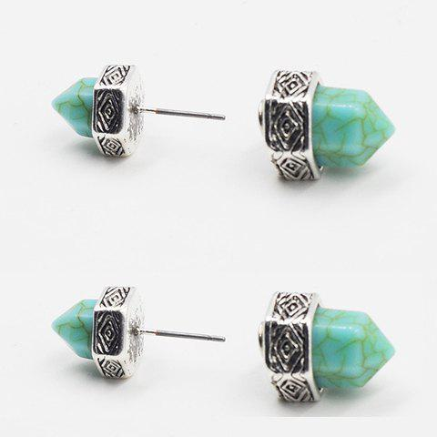 Hot Pair of Vintage Turquoise Hexagonal Prism Shape Earrings For Women