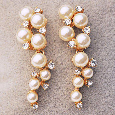 Discount Pair of Gorgeous Faux Pearl Rhinestone Earrings For Women