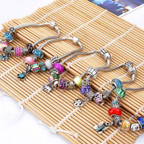 Store Flower Elephant Heart Butterfly Bead Bracelet - RANDOM COLOR PATTERN  Mobile
