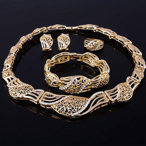 Fashion Rhinestone Inlaid Hollow Out Jewelry Set GOLDEN
