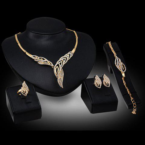 Sale Chic Rhinestone Hollow Out Leaf Necklace Bracelet Ring and A Pair of Earrings For Women