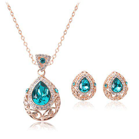 Store Faux Sapphire Teardrop Necklace and Earrings CHAMPAGNE GOLD