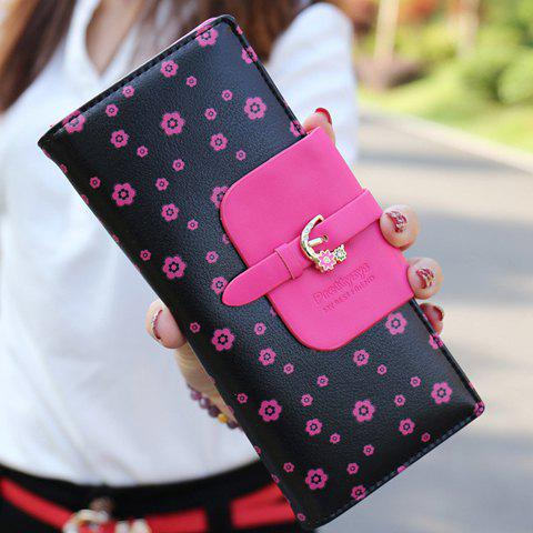 Shops Sweet Floral Print and Buckle Design Women's Wallet