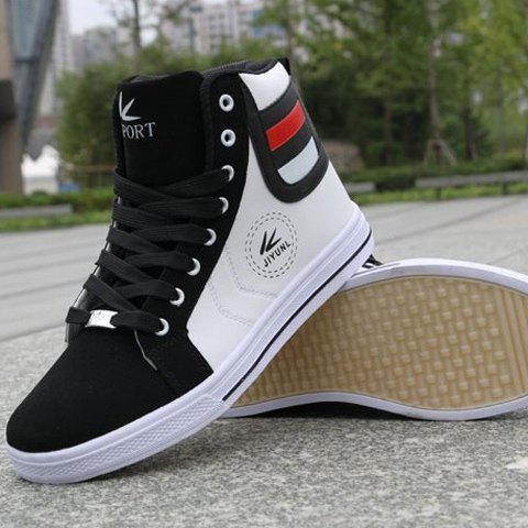 Outfit Trendy High-Top and Color Block Design Men's Casual Shoes - 41 WHITE Mobile