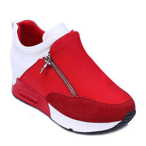 Online Stylish Zipper and Splicing Design Women's Athletic Shoes - 36 RED Mobile