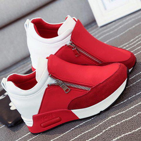 New Stylish Zipper and Splicing Design Women's Athletic Shoes - 36 RED Mobile