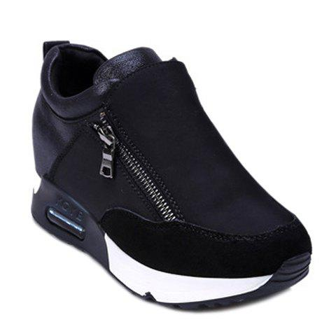 Discount Stylish Zipper and Splicing Design Women's Athletic Shoes