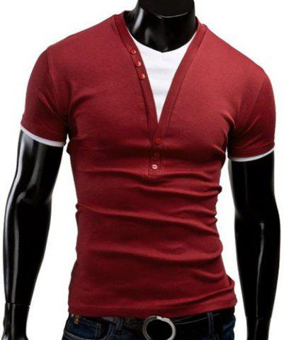 Hot V Neck Short Sleeve Button T Shirt - L WINE RED Mobile