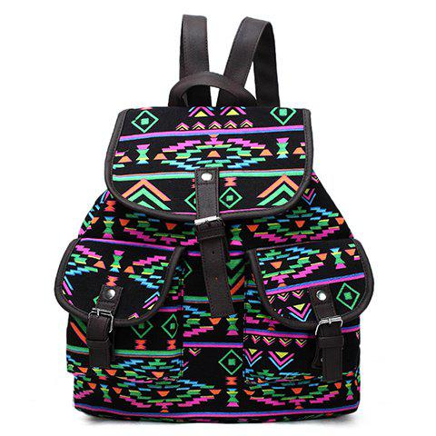 Affordable National Style Printed and Buckles Design Women's Satchel