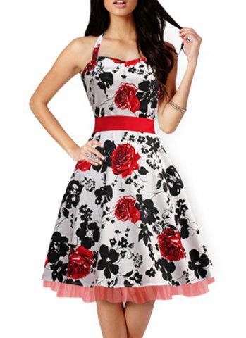 Fancy Retro Style Sweetheart Neck Sleeveless Floral Print Self-Tie Women's Dress