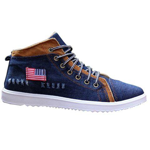 Trendy Retro Denim and Flag Design Men's Casual Shoes