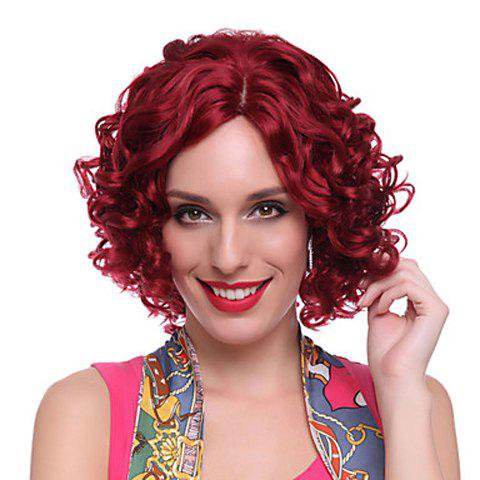 Affordable Attractive Centre Parting Deep Red Curly Medium Capless Heat Resistant Synthetic Wig For Women