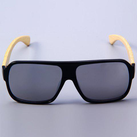 Trendy Unisex Anti-UV Wooden-earstems Sunglasses for Outdoor Fishing Camping - BLACK FRAME AND SILVER LENS  Mobile