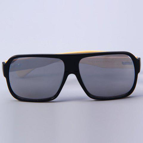 Fancy Unisex Anti-UV Wooden-earstems Sunglasses for Outdoor Fishing Camping - BLACK FRAME AND SILVER LENS  Mobile