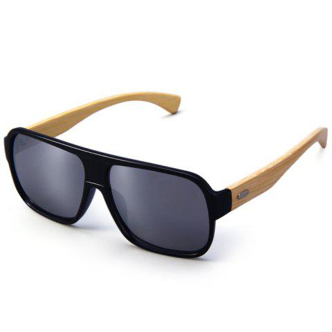 Fashion Unisex Anti-UV Wooden-earstems Sunglasses for Outdoor Fishing Camping - BLACK FRAME AND SILVER LENS  Mobile