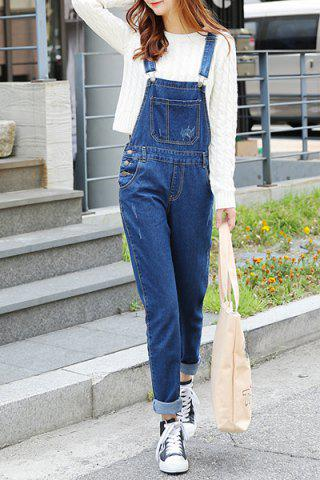 Chic Preppy Style Solid Color Denim Women's Overalls