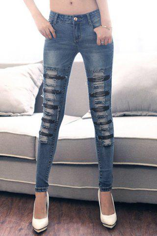 Affordable Street Style Broken Hole Frayed Jeans For Women