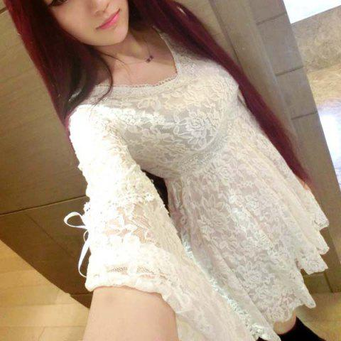 Fashion Sweet V-Neck 3/4 Sleeve Solid Color Lace Women's Dress