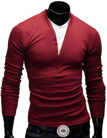 Online Modish Fitted V-Neck Faux Twinset Button Design Long Sleeve Polyester T-Shirt For Men WINE RED L