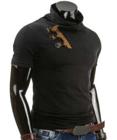 Outfit Trendy Slimming Cowl Neck Color Block Horn Button Short Sleeve Polyester T-Shirt For Men - M BLACK Mobile