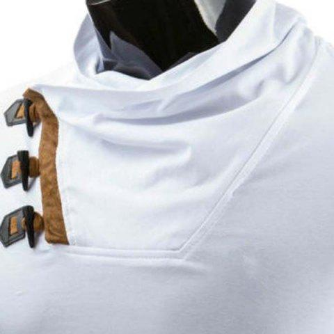Online Trendy Slimming Cowl Neck Color Block Horn Button Short Sleeve Polyester T-Shirt For Men - 2XL WHITE Mobile