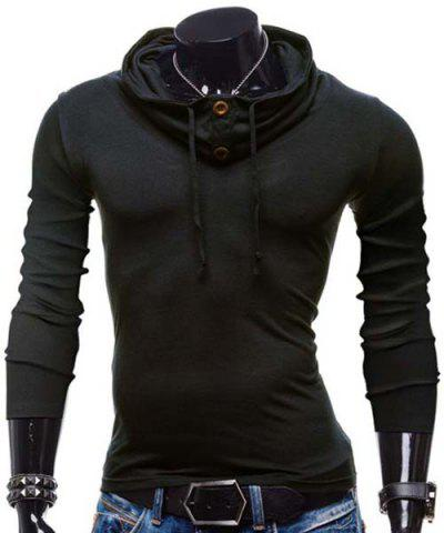 Shops Fashion Piles Collar Solid Color Button Design Slimming Long Sleeve Polyester T-Shirt For Men BLACK L