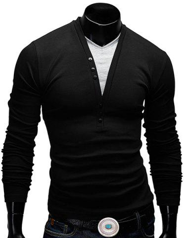 Chic Modish Fitted V-Neck Faux Twinset Button Design Long Sleeve Polyester T-Shirt For Men - L BLACK Mobile