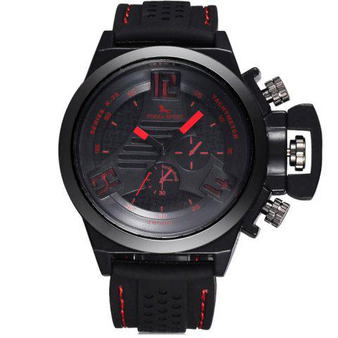 Unique FORZA SPORT 2497 Japan Quartz Watch with Decorative Sub-dials Luminous Pointers Silicone Band for Men - RED  Mobile