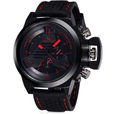 FORZA SPORT 2497 Montre Quartz au Japon avec Décors Décoratifs Luminous Pointers Silicone Band for Men Rouge