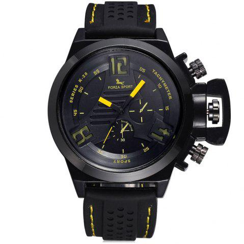 Best FORZA SPORT 2497 Japan Quartz Watch with Decorative Sub-dials Luminous Pointers Silicone Band for Men - YELLOW  Mobile
