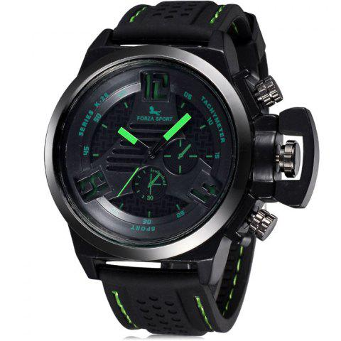 Unique FORZA SPORT 2497 Japan Quartz Watch with Decorative Sub-dials Luminous Pointers Silicone Band for Men - YELLOW  Mobile