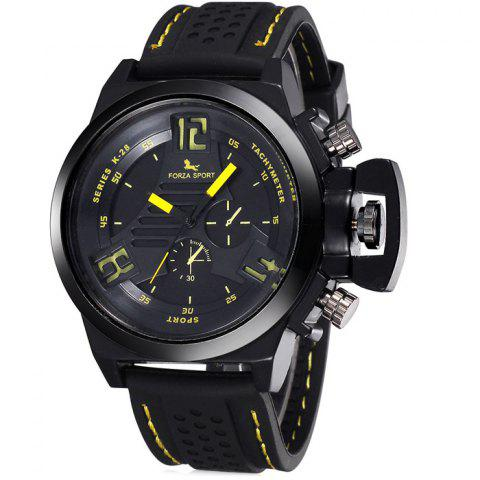 FORZA SPORT 2497 Montre Quartz au Japon avec Décors Décoratifs Luminous Pointers Silicone Band for Men Jaune