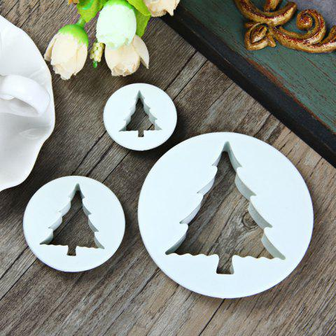 Online 3Pcs Christmas Tree Style DIY Cake Mould for Embossing Fondant Decoration