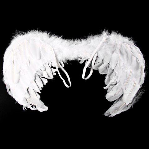 Cheap Angel Wings with Elastic Straps for Christmas Costume Theme Parties - SIZE S WHITE Mobile