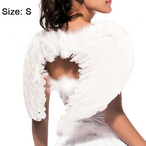 Shop Angel Wings with Elastic Straps for Christmas Costume Theme Parties - SIZE S WHITE Mobile