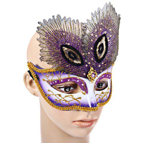 Best Peacock Eye Mask with Half Face for Halloween Christmas Costume Venice Masquerade - PURPLE  Mobile