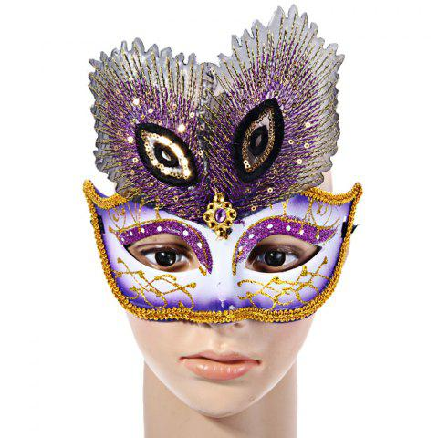 Cheap Peacock Eye Mask with Half Face for Halloween Christmas Costume Venice Masquerade - PURPLE  Mobile