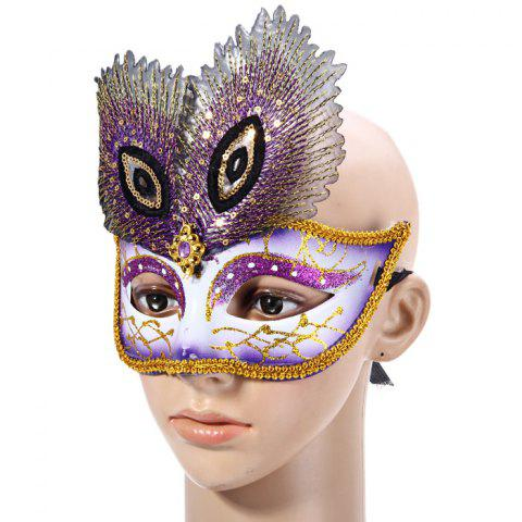 Unique Peacock Eye Mask with Half Face for Halloween Christmas Costume Venice Masquerade - PURPLE  Mobile