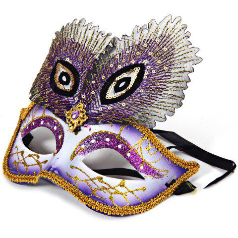 Sale Peacock Eye Mask with Half Face for Halloween Christmas Costume Venice Masquerade - PURPLE  Mobile